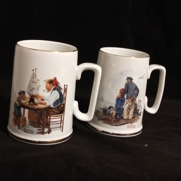 be7cf81690d Normon Rockwell 24k gold collectors mugs set of 2